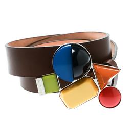 Dsquared2 Brown Leather Buckle Embellished Belt Size 100 CM 175554