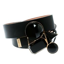 Dsquared2 Black Leather Buckle Embellished Belt Size 100 CM 175759