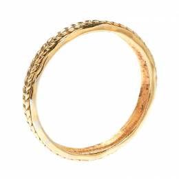Chanel Vintage Braided Texture Gold Plated Bangle Bracelet 176628