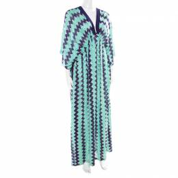 Missoni Mare Bicolor Chevron Patterned Knit Beach Cover Up Kaftan S