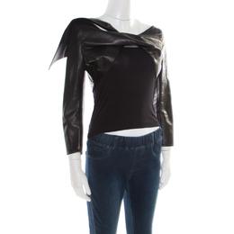 Dsquared2 Black Leather Twist Front Cropped Jacket L