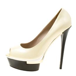 Le Silla Cream Patent Leather Peep Toe Platform Pumps Size 39 178113