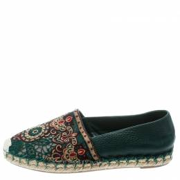 Valentino Green Embroidered Leather Espadrilles Size 35 178122
