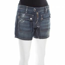 Dsquared2 Blue Faded Effect Distressed Denim Zip Front Shorts L
