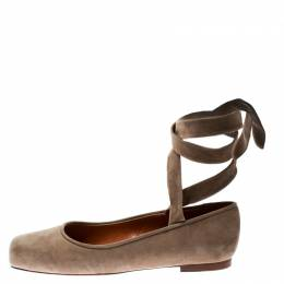 Ralph Lauren Beige Suede Square Toe Ankle Wrap Ballet Flats Size 37