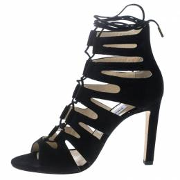Jimmy Choo Black Suede Hitch Cut Out Caged Sandals Size 40