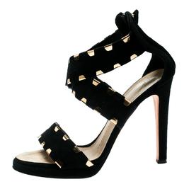 Giuseppe Zanotti Design Black Suede Cross Ankle Strap Sandals Size 38.5