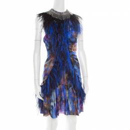 Matthew Williamson Multicolor Printed Silk Feather Embellished Dress S 182778