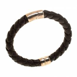 Bottega Veneta Brown Woven Leather Silver Narrow Bracelet 183834