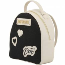 Love Moschino Two Tone Signature Fabric and Faux Leather Backpack 183408