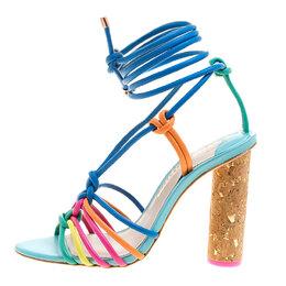 Sophia Webster Multicolor Leather Cord Copacabana Cork Heel Ankle Wrap Sandals Size 36.5
