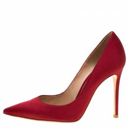 Gianvito Rossi Red Satin Pointed Toe Pumps Size 37