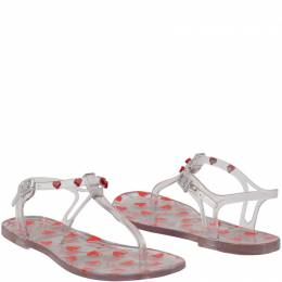 Love Moschino Clear Heart Print Rubber Flat Thong Sandals Size 37 183311