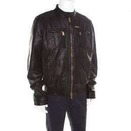Dsquared2 Black Goat Leather Zip Front Biker Jacket 3XL 184533