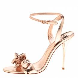 Sophia Webster Metallic Rose Gold Leather Lilico Floral Embellished Ankle Wrap Sandals Size 40