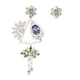 Burberry Half Daisy Crystal Silver Tone Clip-on Asymmetric Stud Drop Earrings 185917