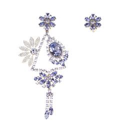 Burberry Half Daisy Crystal Silver Tone Clip-on Asymmetric Stud Drop Earrings 185921