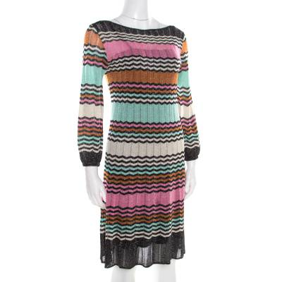 M Missoni Multicolor Lurex Chevron Patterned Knit Neck Tie Detail Dress M 186358 - 1
