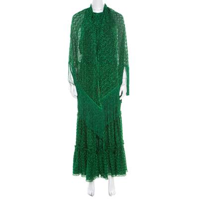 Missoni Metallic Green Knit Neck Tie Detail Tiered Maxi Dress and Fringed Wrap Set M 186723 - 1