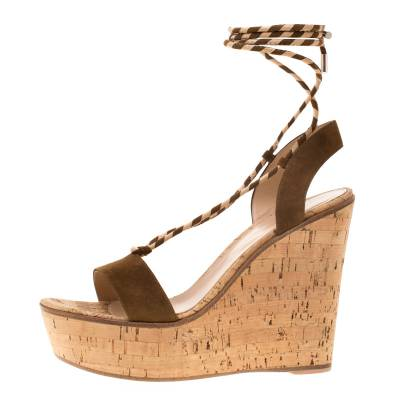 Gianvito Rossi Brown Suede Ankle Wrap Cork Wedge Sandals Size 38.5 185607 - 1