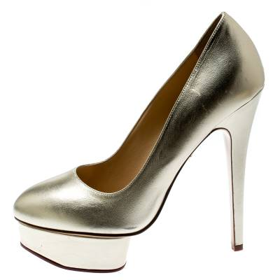 Charlotte Olympia Metallic Gold Leather Dolly Platform Pumps Size 39.5 186935 - 1