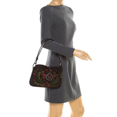 Valentino Brown Flowers Embroidered Suede and Leather Vring Shoulder Bag 187278 - 1