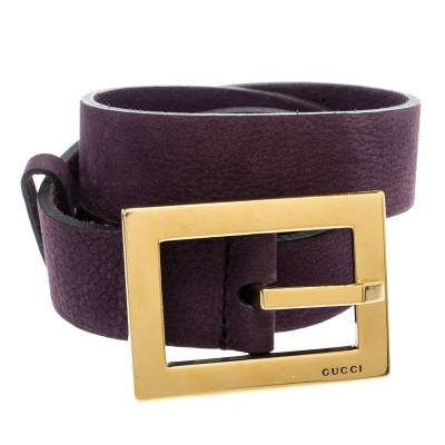 Gucci Purple Nubuck Leather Belt 85CM 186865 - 2
