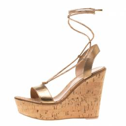 Gianvito Rossi Metallic Gold Leather Ankle Wrap Cork Wedge Sandals Size 39.5 208429