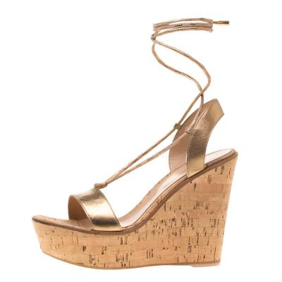 Gianvito Rossi Metallic Gold Leather Ankle Wrap Cork Wedge Sandals Size 37 185610 - 2