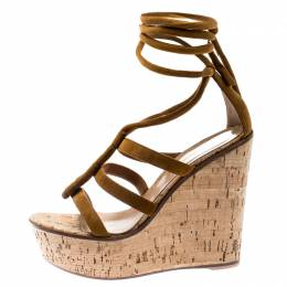 Gianvito Rossi Brown Suede Cork Wedge Ankle Wrap Strappy Sandals Size 36.5 185500