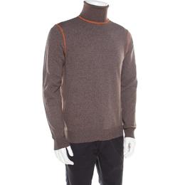 Prada Brown and Grey Contrast Top Stitch Detail Turtleneck Sweater L 185883