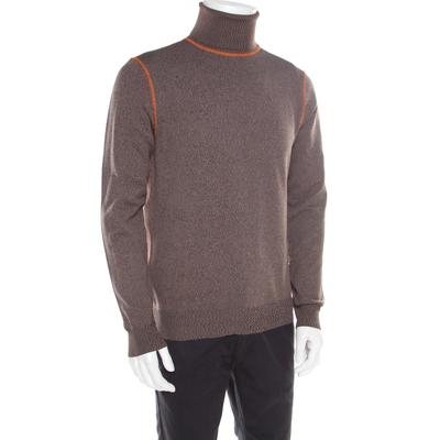 Prada Brown and Grey Contrast Top Stitch Detail Turtleneck Sweater L 185883 - 1