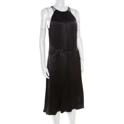 Vera Wang Black Embellished Satin Bod Detail Sleeveless Dress M 186493 - 1