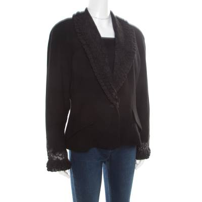 Dior Boutique Black Wool Ruffled Lace Collar and Cuff Detail Jacket XL 186487 - 1