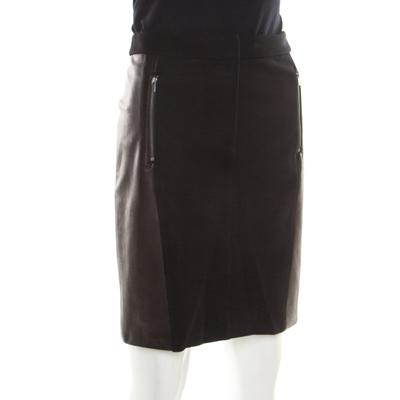 Diane Von Furstenberg Black Contrast Leather Panel Detail Lisa Pencil Skirt S 186963 - 2