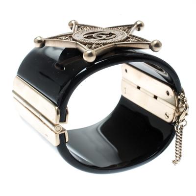 Chanel Black Sheriff Star Gold Tone Wide Cuff Bracelet 187198 - 1