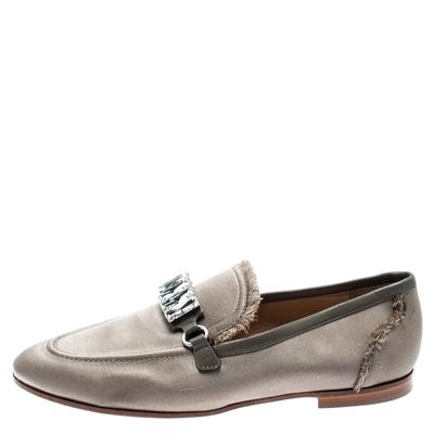Giuseppe Zanotti Design Beige Satin Letizia Crystal Embellished Loafers Size 36 187161 - 1