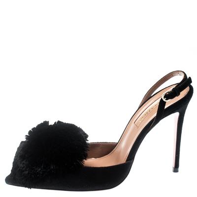Aquazzura Black Suede Powder Puff Pointed Toe Slingback Sandals Size 36 187236 - 2