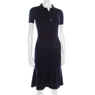 Ralph Lauren Navy Blue Cashmere and Silk Knit Polo Midi Dress XS 186342 - 1