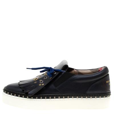 Burberry Navy Blue Leather Kiltie Fringe Slip On Sneakers Size 37 184120 - 1