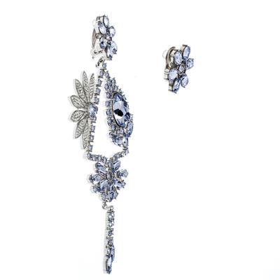 Burberry Half Daisy Crystal Silver Tone Clip-on Asymmetric Stud Drop Earrings 185925 - 1
