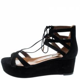 Aquazzura Black Cut Out Suede Beverly Hills Lace Up Open Toe Platform Sandals Size 36.5 186915