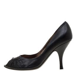 Salvatore Ferragamo Black Lizard Leather Fiberia Peep Toe Pumps Size 38.5 187080