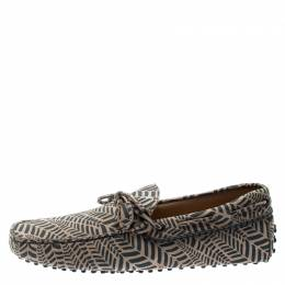 Tod's Beige and Grey Printed Leather Bow Loafers Size 42.5 192595