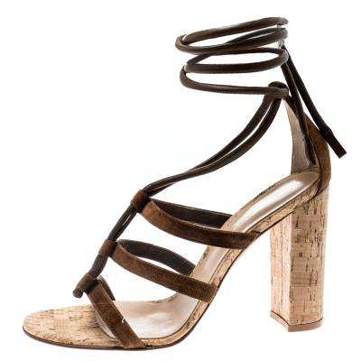 Gianvito Rossi Brown Leather And Suede Block Cork Heel Strappy Sandals Size 40.5 183876 - 2