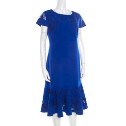 Marchesa Notte Blue Cutout Floral Embroidered Cap Sleeve Flounce Dress XL