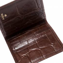 Mulberry Brown Croc Embossed Leather Bifold Card Case