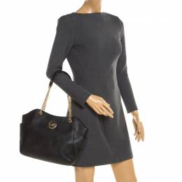 MICHAEL Michael Kors Black Leather Jet Set Travel Chain Shoulder Bag 192918