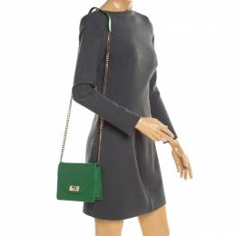 Givenchy Green Leather Shark Flap Crossbody Bag 192907