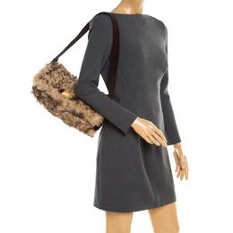Dolce & Gabbana Beige/Brown Fur and Suede Shoulder Bag 193282